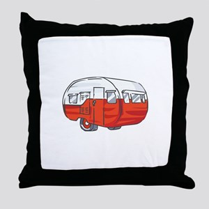 VINTAGE RED CAMPER Throw Pillow