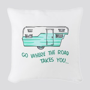 GO WHERE ROAD TAKES YOU Woven Throw Pillow