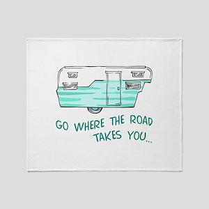 GO WHERE ROAD TAKES YOU Throw Blanket