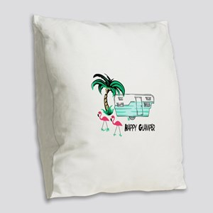 HAPPY GLAMPER Burlap Throw Pillow