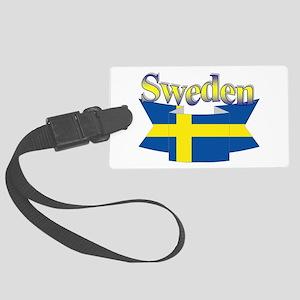 Sweden Flag Ribbon Large Luggage Tag