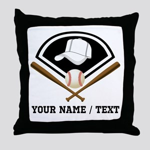 Custom Name/Text Baseball Gear Throw Pillow