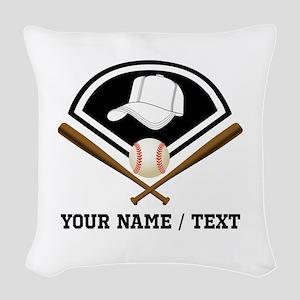Custom Name/Text Baseball Gear Woven Throw Pillow
