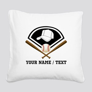 Custom Name/Text Baseball Gear Square Canvas Pillo