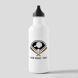 Custom Name/Text Baseball Gear Water Bottle