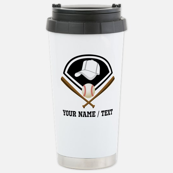 Custom Name/Text Baseball Gear Travel Mug
