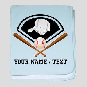 Custom Name/Text Baseball Gear baby blanket