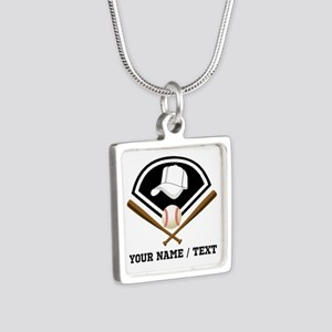 Custom Name/Text Baseball Gear Necklaces