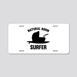 Natural Born Surfer Aluminum License Plate