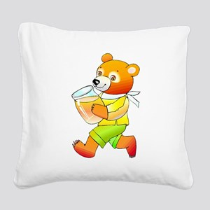 Bear With Honey Jar Square Canvas Pillow