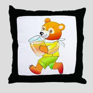 Bear With Honey Jar Throw Pillow