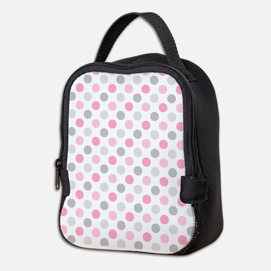 Pink Gray Polka Dots Neoprene Lunch Bag
