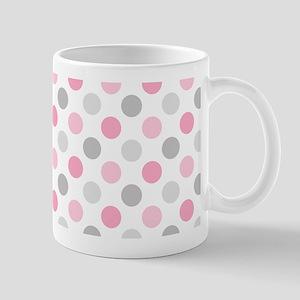 Pink Gray Polka Dots Mug