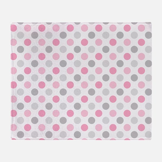 Pink Gray Polka Dots Throw Blanket