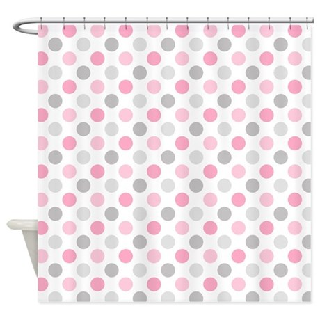 Pink Gray Polka Dots Shower Curtain by PinkInkArt2