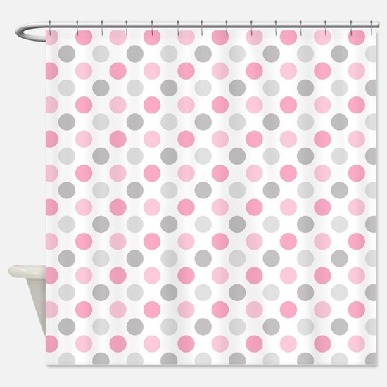Pink Gray Polka Dots Shower Curtain
