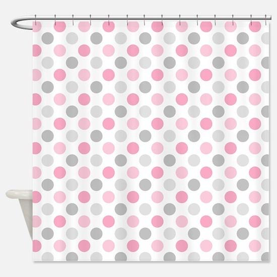 Pink Gray Polka Dots Shower Curtain