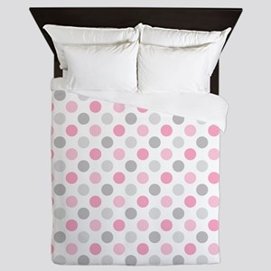 Pink Gray Polka Dots Queen Duvet