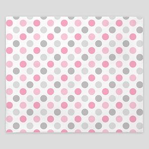 Pink Gray Polka Dots King Duvet