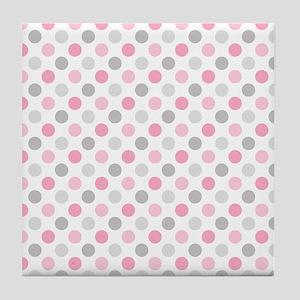 Pink Gray Polka Dots Tile Coaster