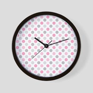 Pink Gray Polka Dots Wall Clock