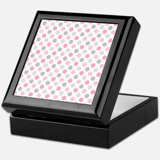 Pink Gray Polka Dots Keepsake Box