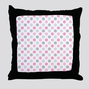 Pink Gray Polka Dots Throw Pillow