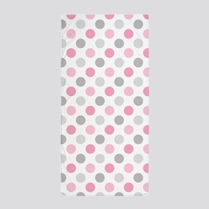 Pink Gray Polka Dots Beach Towel