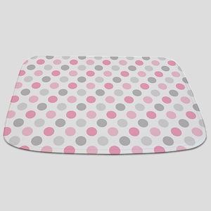 Pink Gray Polka Dots Bathmat
