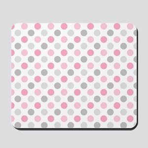 Pink Gray Polka Dots Mousepad