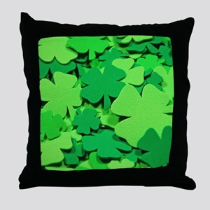 Lucky green clovers Throw Pillow