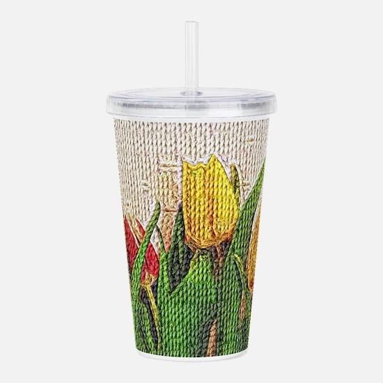 Textured Tulip Border Acrylic Double-wall Tumbler