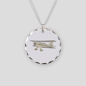 Waco Biplane Necklace Circle Charm