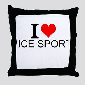 I Love Ice Sports Throw Pillow