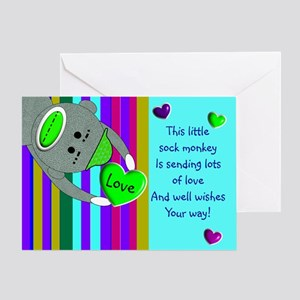 Terminally ill greeting cards cafepress sock monkey sick child greeting cards m4hsunfo