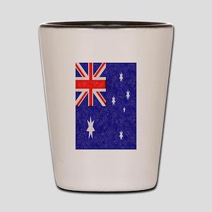 Vintage ink Australian Flag. Shot Glass