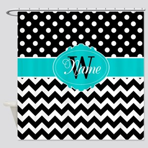 Black Teal Dots Chevron Personalize Shower Curtain