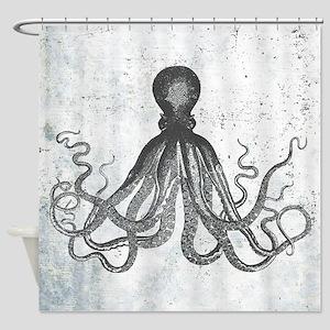 Grunge Octopus Shower Curtain