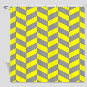Gray Yellow Herringbone Shower Curtain