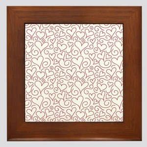Hearts and Swirls Square Design Framed Tile