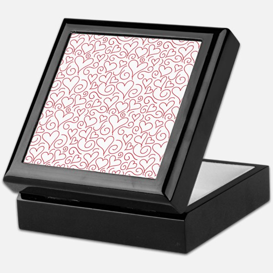 Hearts and Swirls Square Design Keepsake Box