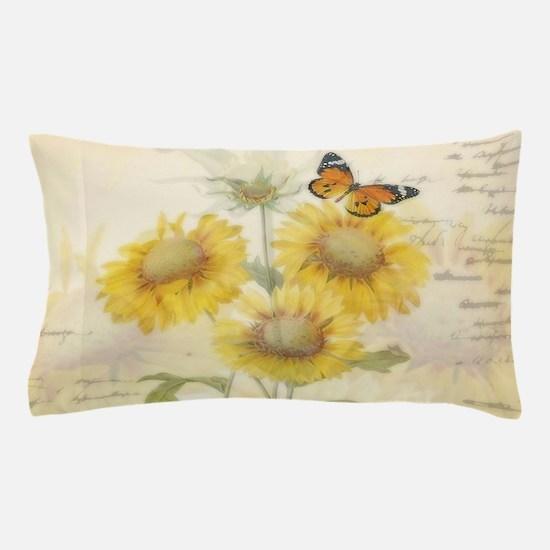 Sunflowers and butterflies Pillow Case