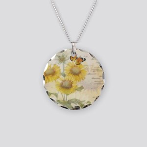Sunflowers and butterflies Necklace Circle Charm