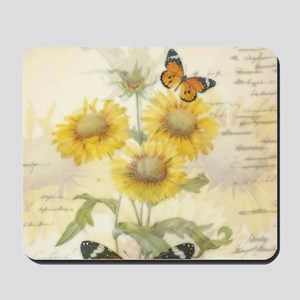 Sunflowers and butterflies Mousepad