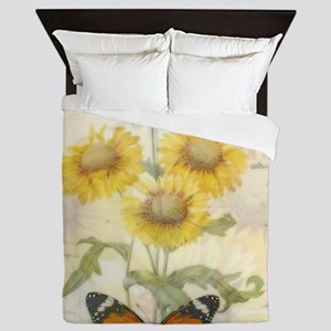 Sunflowers and butterflies Queen Duvet