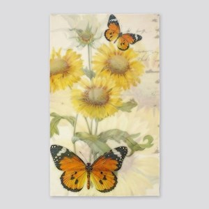 Sunflowers and butterflies Area Rug