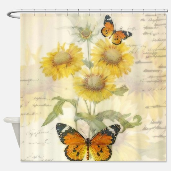 Sunflowers and butterflies Shower Curtain
