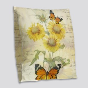 Sunflowers and butterflies Burlap Throw Pillow