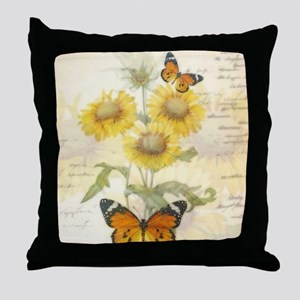Sunflowers and butterflies Throw Pillow
