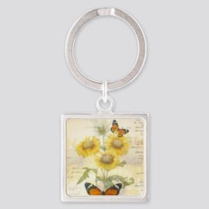 Sunflowers and butterflies Keychains